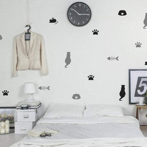 25 Cat Pattern Wall Stickers, Nursery Wall Decals, Cat Paws, Confetti, Vinyl, Car, Home Wall Art Decor, Wallpaper, Animal Wall Decals