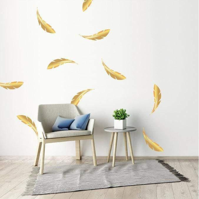 10 Large Gold Metallic Feather Wall Stickers, Patterns, Nursery Wall Decals, Home Vinyl Wall Art Decor, Wallpaper Christmas Gift