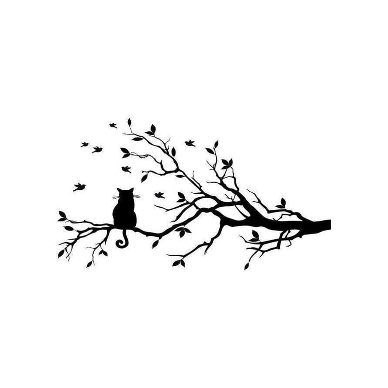 Birds & Cat Tree Wall Sticker Decal, Home Decor, Childrens, Nursery Art, Animal Christmas Gift