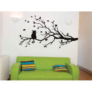 Birds & Cat Tree Wall Sticker Decal, Home Decor, Childrens, Nursery Art, Animal Christmas Gift-QuoteMyWall