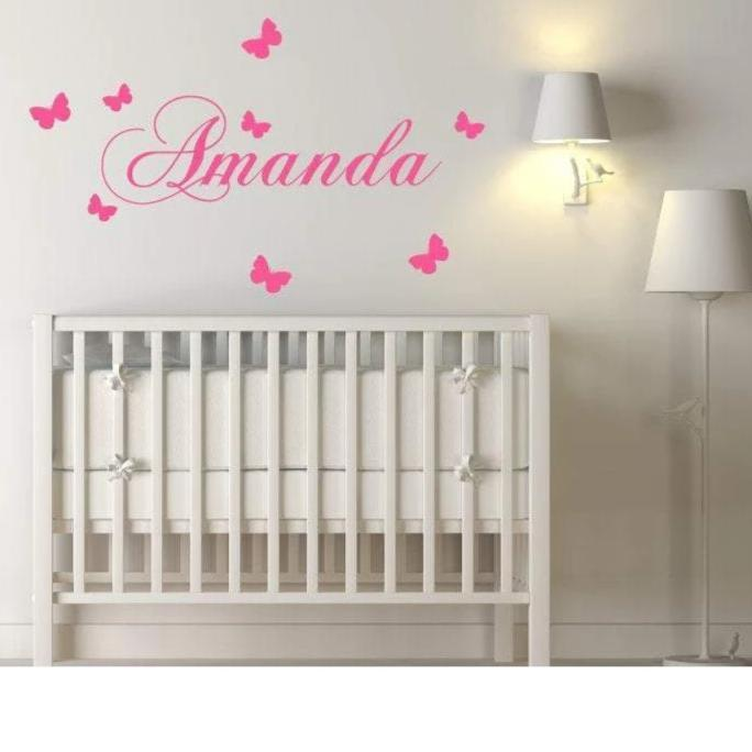 Personalised Girls Name Nursery Wall Decal/Wall Sticker With Butterflies - Custom Wall Art For Girls Bedroom Decor Christmas Gift