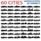 60 USA Cities Skyline Wall Decal/Wall Sticker American Cities -  City Silhouettes, Wall Art Decals, Home Decor, Office Christmas Gift