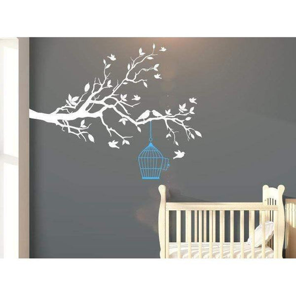 Large Nursery Tree Wall Decal With Flying Birds & Bird Cage - Tree Wall Art Decal/Stickers For Children Christmas Gift-QuoteMyWall