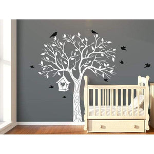 Large Nursery Tree Wall Decal With Flying Birds & Bird House - Tree Wall Art Decal/Stickers For Children, Unisex - Removeable Vinyl-QuoteMyWall