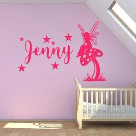 Customised Nursery Wall Sticker/Wall Decal - Girls Name, Fairy Sitting On Mushroom With Stars - Personalised Wall Decal, Mural, Art