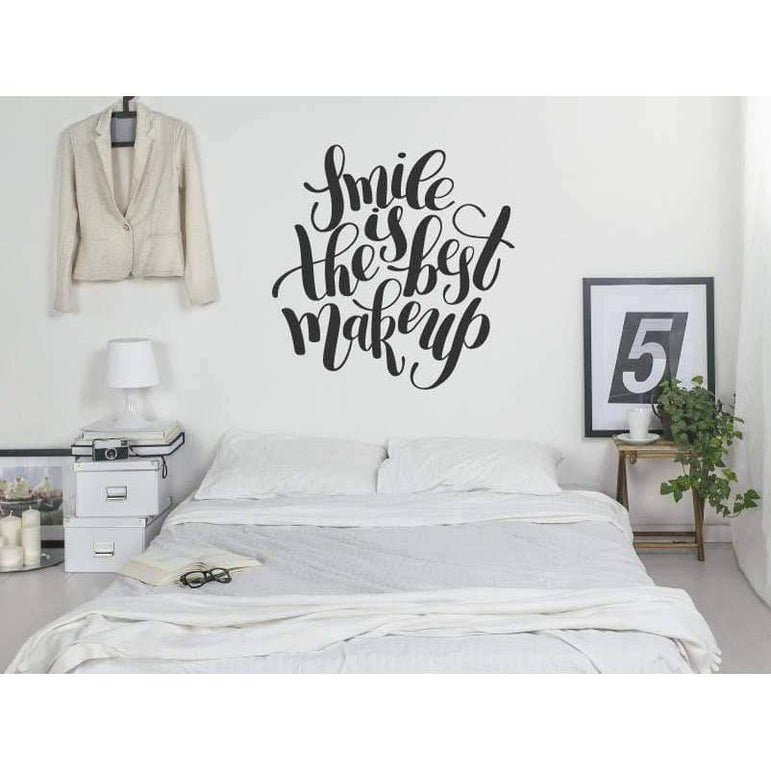 Bedroom Wall Art Decal - Smile Is The Best Makeup - Vinyl Wall Sticker For Home, Wallpaper, Mural, Wall Quote, Motivational, Love