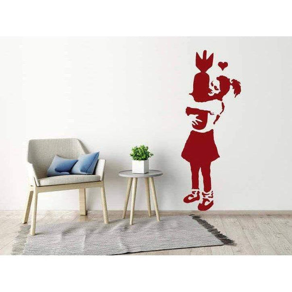 Banksy Wall Sticker - Learn To Love, Banksy Wall Art Decal, Wallpaper, Art Decor, Graffiti Christmas Gift-QuoteMyWall