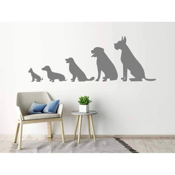 Animal Wall Stickers - Line Of 5 Dogs, Animal Wall Decals, Home, Kids, Wallpaper Vinyl Decor Christmas Gift