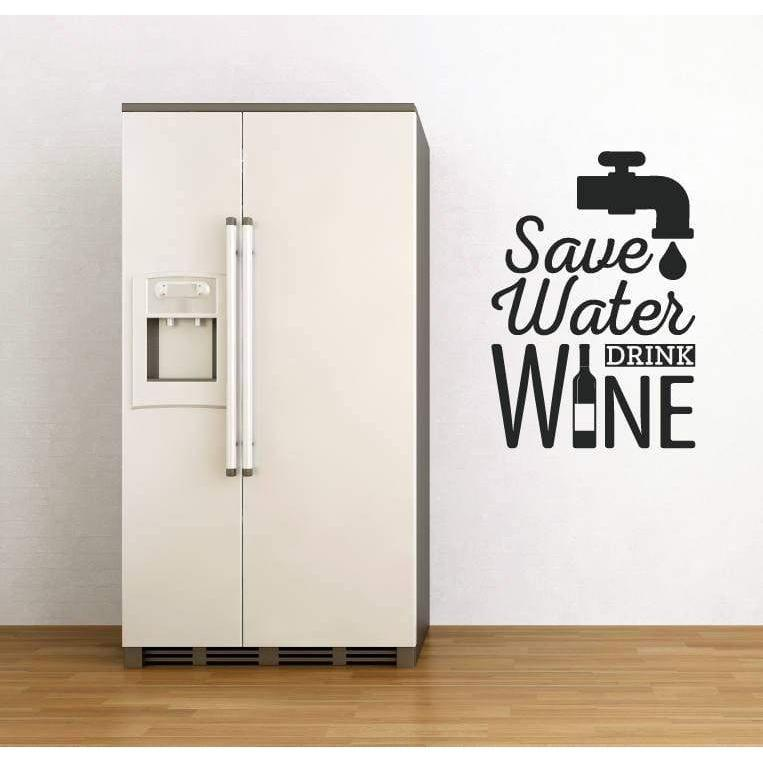 Wall Sticker Quote - Save Water Drink Wine, Kitchen/Home Wall Art Decal, Wall Quote, Mural, Wallpaper, Decor Christmas Gift