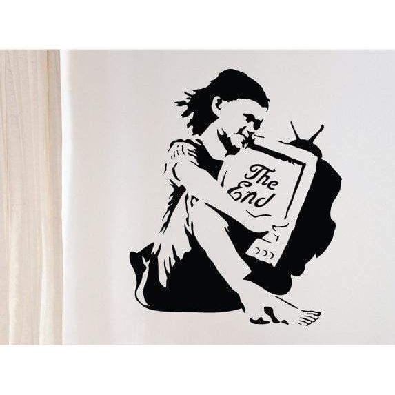 Banksy Wall Decal/Vinyl Wall Sticker - The End TV Girl - Home, Bedroom Modern Wall Art Decor, Graffiti Christmas Gift