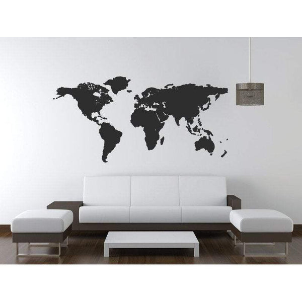 World Map Wall Art Decal Sticker Office Home Travel Wall Sticker (36 Colours)