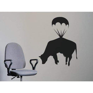 Banksy Wall Art Decal/Wall Sticker - Flying Cow Parachute, Street Art, Home Decor Christmas Gift