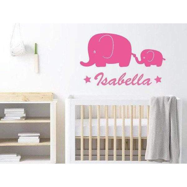 Elephant Nursery Wall Decal, Nursery Wall Sticker  Personalised, Custom Wall Art Sticker, Decor, Childrens Bedroom, Animal Sticker, Wall Art