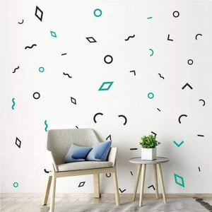 54 Mixed Shapes Wall Stickers, Patterns, Nursery Wall Decals, Home Vinyl Wall Art Decor, Wallpaper, Modern Polkadots Christmas Gift