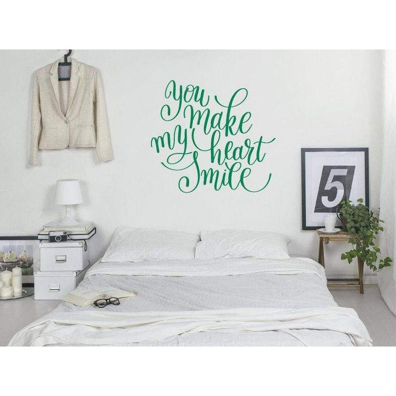 Wall Decal Sticker Quote - You Make My Heart Smile - Love Bedroom Wall Art Quote, Home Decor, Mural, Wallpaper Christmas Gift