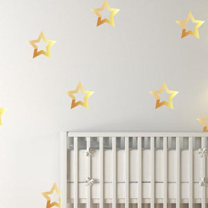 18 Large Gold Metallic Stars Nursery Wall Decals/Home Wall Stickers, Childrens Bedroom/Baby Decor, Vinyl, Wallpaper Art Decor Christmas Gift