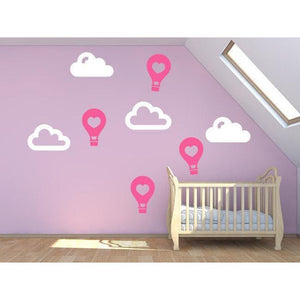 Nursery Wall Stickers - Heart Hot Air Balloons & Clouds Wall Decals For Children - Home Decor, Wallpaper, Vinyl Mural Christmas Gift