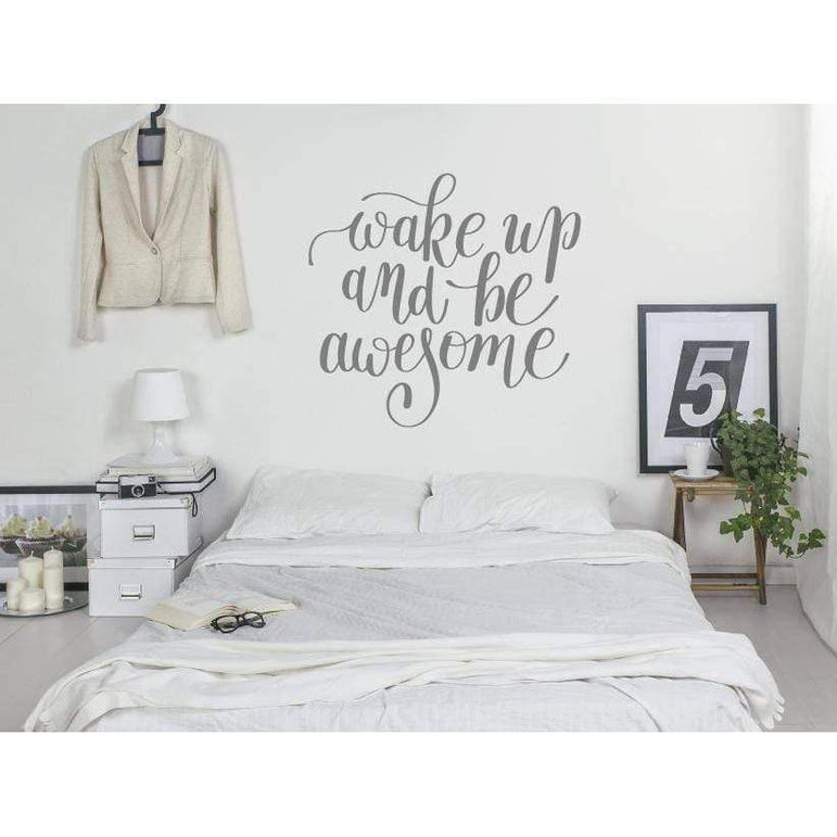 Bedroom Wall Sticker Quote  - Wake Up And Be Awesome - Wall Decal Decor For Home, Wallpaper, Mural, Wall Quote, Motivational Christmas Gift