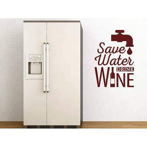 Wall Sticker Quote - Save Water Drink Wine, Kitchen/Home Wall Art Decal, Wall Quote, Mural, Wallpaper, Decor Christmas Gift-QuoteMyWall