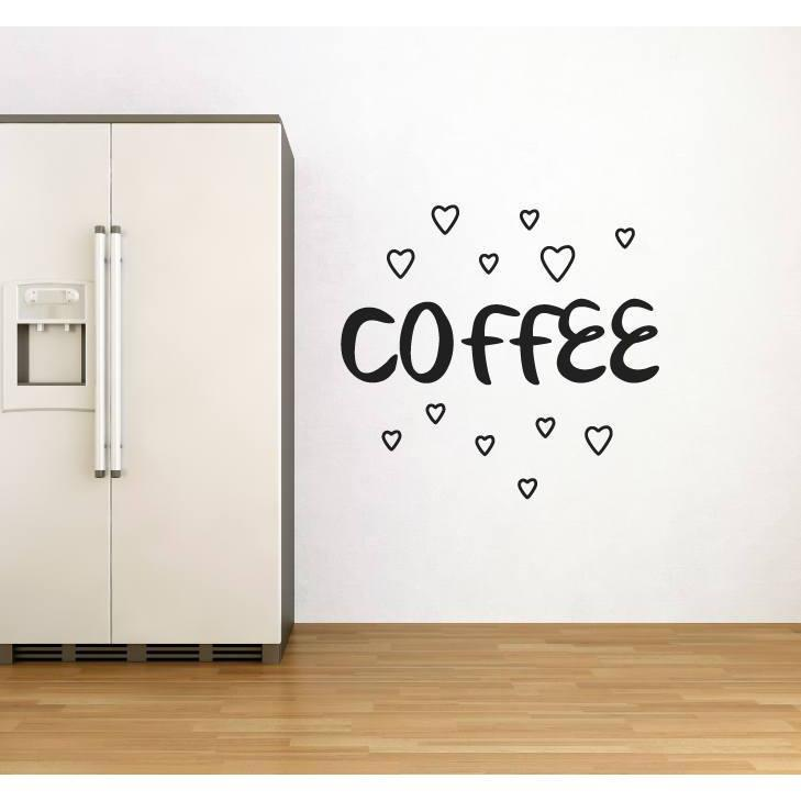 Kitchen Wall Sticker Quote - Coffee With Love Hearts Wall Art Decal - Wall Decor, Mural Christmas Gift