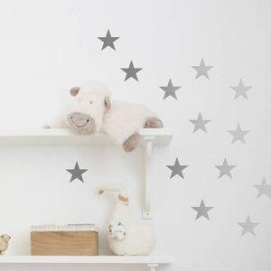30 Large Silver Metallic Stars - Nursery Wall Decals/Wall Stickers, Wall Art, Vinyl, Wedding, Wallpaper Christmas Gift