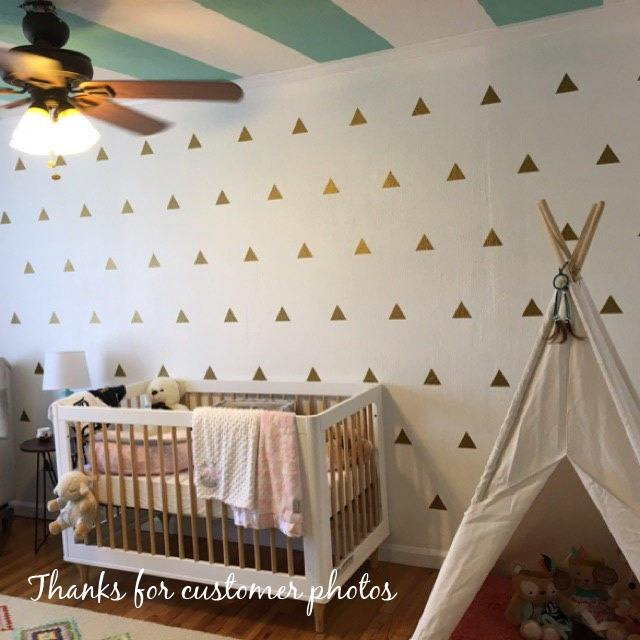 100 Gold Metallic Triangle Wall Stickers, Gold triangle Decals, Triangle Wall Stickers, Triangles, Decoration Confetti, Nursery Wall Decals
