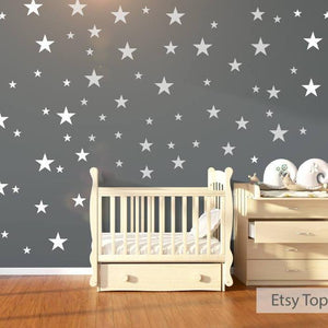 Nursery Wall Stickers - 120 White Stars , Nursery Wall Decals, Star Wall Stickers, Childrens Wall Art, Vinyl, Wallpaper, White Wall Decals