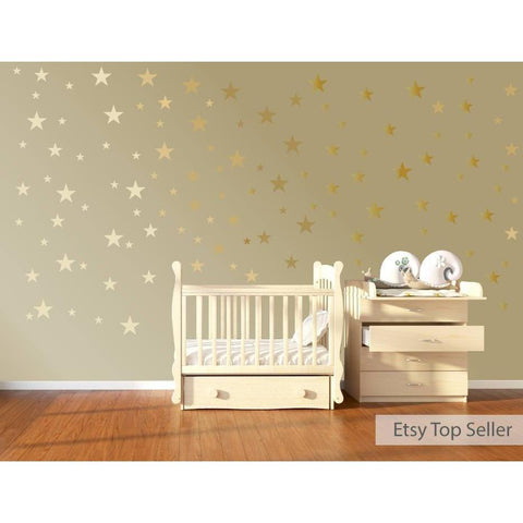 120 Gold Metallic Stars Nursery Wall Decals, Nursery Wall Stickers, Childrens/Baby Wall Art, Baby Shower Gift, Vinyl, Wallpaper Art Decor-QuoteMyWall