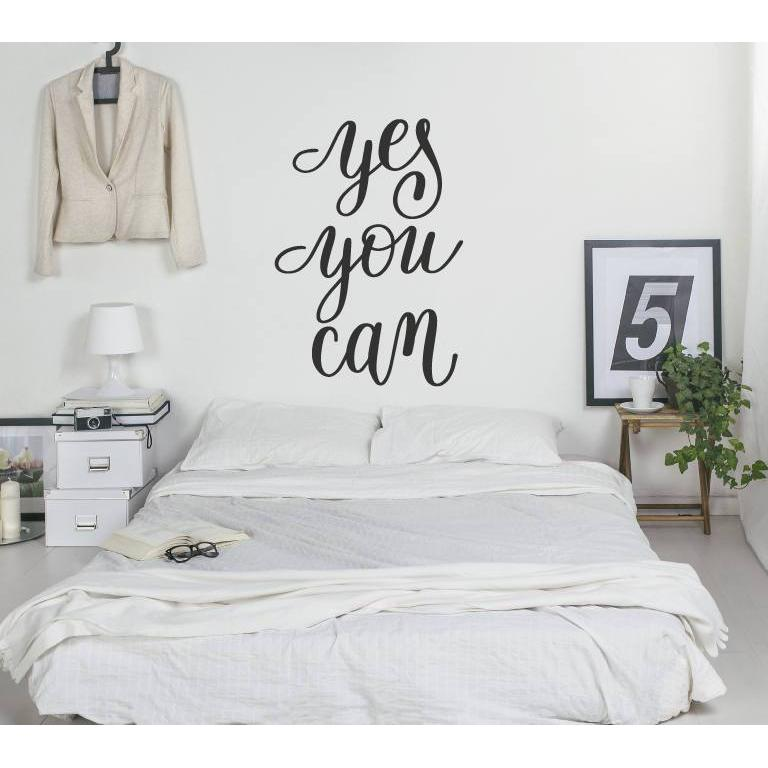 Wall Decal/Motivational Wall Sticker Quote - Yes You Can - Wall Art Quote, Home Decor, Mural, Wallpaper Christmas Gift