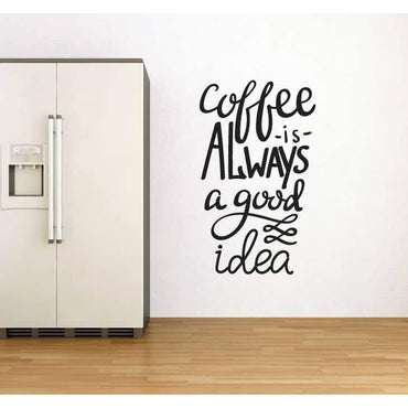 Coffee Wall Decal Sticker Quote - Wall Art Decal - Mural, Kitchen Wall Decor Christmas Gift
