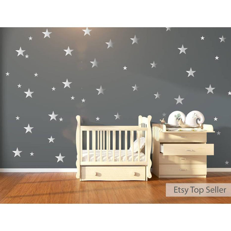 Nursery Wall Decals, Wall Stickers, 120 Silver Metallic Stars, Nursery Wall Stickers, Wall Decals, Wall Art , Vinyl, Wallpaper Home Decor