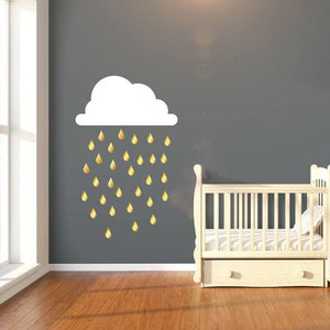 Nursery Wall Decals, Nursery Wall Stickers - Cloud & Gold Metallic Rain Drops, Gold Wall Stickers, Nursery Wall Art, Wall Decor, Home Decor