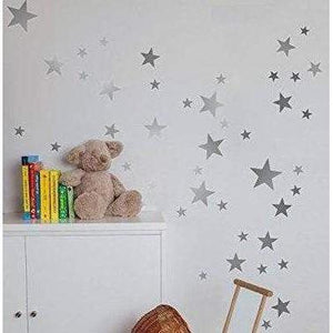 Nursery Wall Decals, 55 Mixed Star Stickers, Star Decals, Star Stickers, Star Wall Art, Kids Wall Stickers, Nursery Wall Art, Silver, Gold
