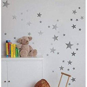 Nursery Wall Stickers 55 Mixed Stars Wall Decals Silver Gold White Easy Peel And Stick Home Decor Wall Art Christmas Gift