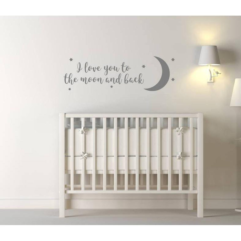 I Love You To The Moon And Back Wall Art, Modern Art, Moon Wall Hanging, Nursery Decor, Nursery Wall Art, Stars Stickers, Stars Decals, Art