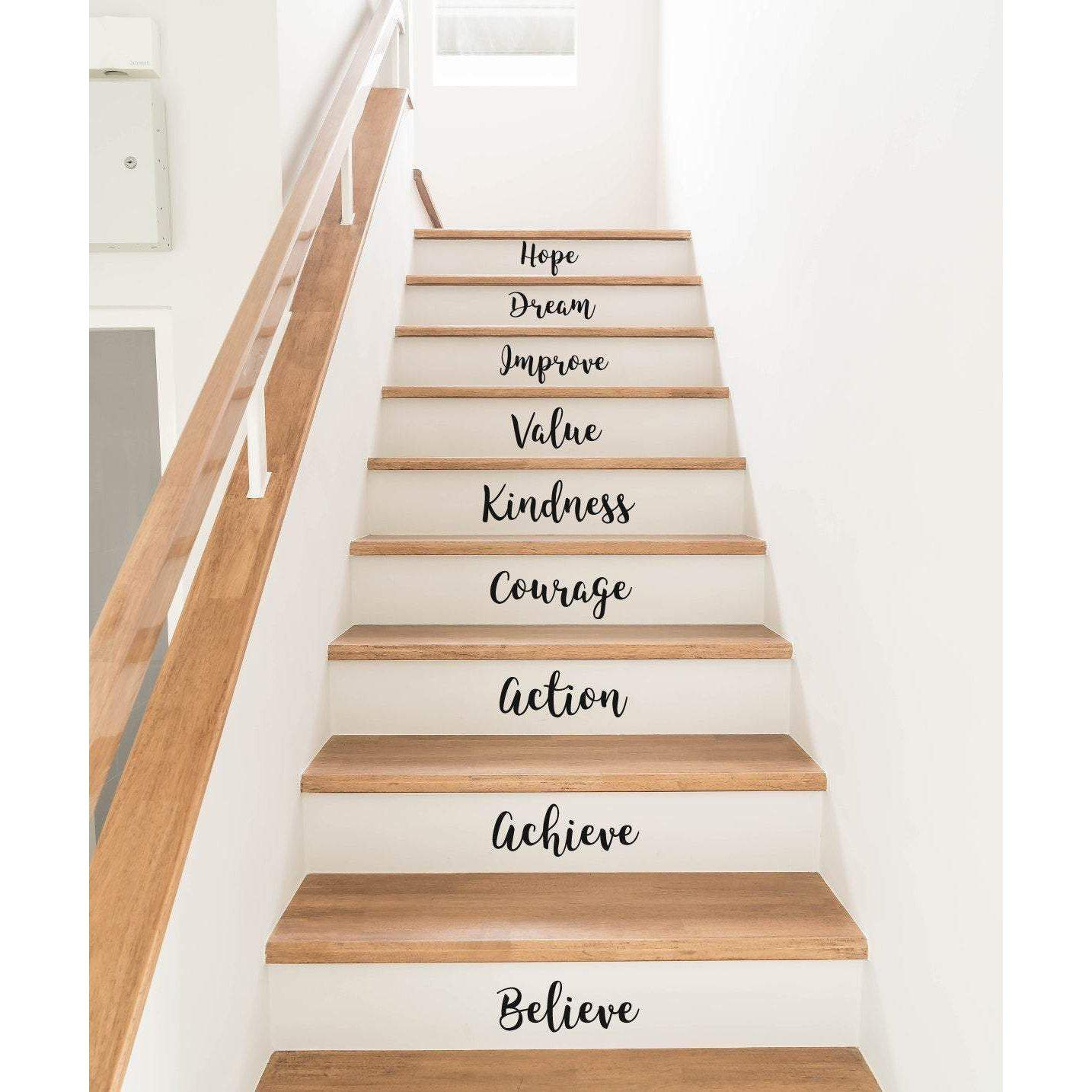 Stickers For Stairs, Decals For Stairs, Stair Decals, Stair Stickers, Stickers Pack, Motivational Quote, Inspirational Quote, Vinyl Stickers