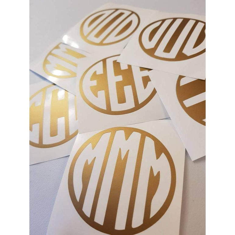 Gold Monogram Decal, Monogram Decal, Initial Decal, Custom Decal, Personalised, Initials, Gold Metallic, Bottle Decal, Tablet Decals, 077