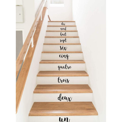 Stair Stickers, Stair Decals, Stair Riser Decals, Stair Riser Stickers, French, French Numbers, 1-10, Stair Numbers, French Wall Decals, 390