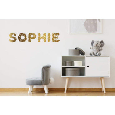 Custom Wall Decal, Gold Polka Dots, Custom Name Sticker, Personalized Decal, Personalized Sticker, Name Wall Decal, Name Wall Sticker, Art
