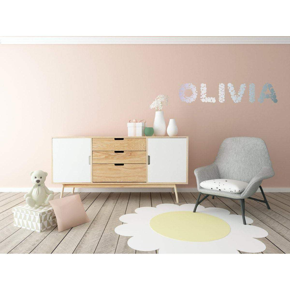 Silver Wall Decal, Personalised Decal, Personalised Art, Nursery Wall Sticker, Nursery Wall Decal, Silver Polka Dots, Polka Dot Stickers