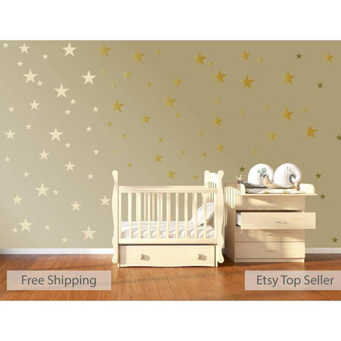 120 Gold Metallic Stars Nursery Wall Decals, Nursery Wall Stickers, Childrens/Baby Wall Art, Baby Shower Gift, Vinyl, Wallpaper Art Decor