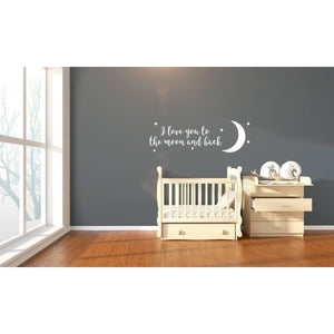 I Love You To The Moon And Back Wall Decal, Nursery Wall Art, Nursery Decal, Nursery Stickers, Moon Sticker, Moon And Stars, Stars, 165