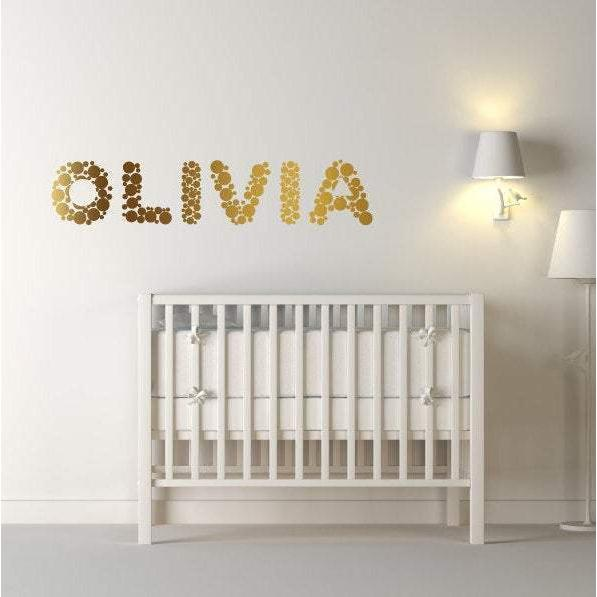 Custom Name Decal, Custom Wall Art, Gold Polka Dots, Polka Dot Decals, Polka Dot Stickers, Personalised Decal, Personalised Sticker, Kids