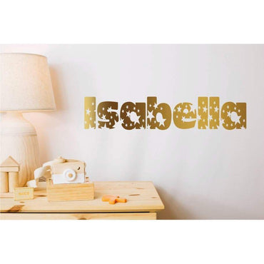 Custom Name Decal, Gold Stars Decals, Gold Stars Stickers, Gold Star Wall Decals, Personalised Decal, Customised Decal, Star Decals, Art