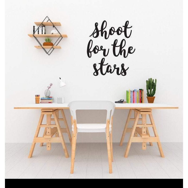 Shoot For The Stars, Wall Sticker Quotes, Motivational Wall Sticker Quote, Wall Decal Quotes, Wall Art Decor, Wall Quotes, Home Decor