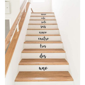 Stair Decals, Stair Stickers, Stair Riser Stickers, Spanish Decor, Spanish Numbers, Number Stair Stickers, Number Decals, Number Stickers-QuoteMyWall