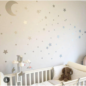Moon Stars Wall stickers, Nursery Wall Art, Decals For Nursery, Decals For Kids, Stickers For Children, Silver Wall Art, Star Wall Stickers