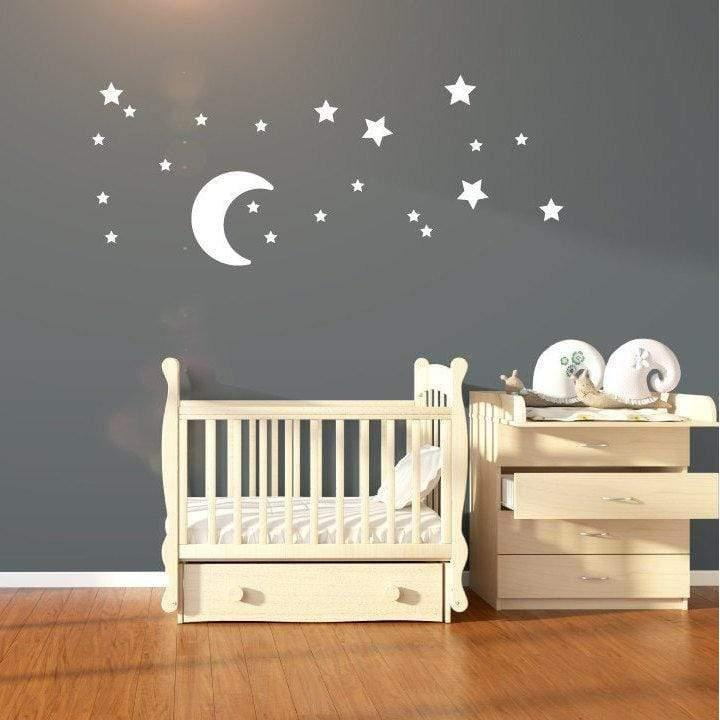 Nursery Wall Art, Moon And Star Stickers, Star Stickers For Nursery, Stickers For Nursery, Moon Decal, Star Decals, Star Wall Art, Moon Art