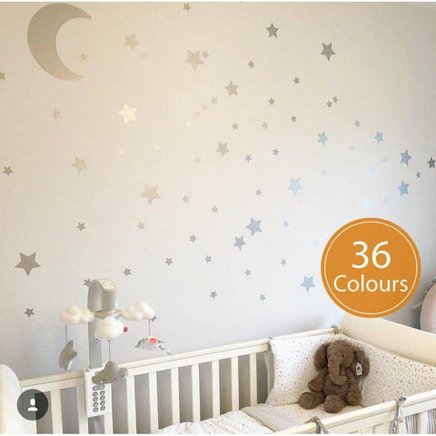 Moon And Star Decals, Silver Stars Stickers, Nursery Wall decals, Moon Decals, Stars Decals, Decals For Children, Kids Decals, Wall Art-QuoteMyWall