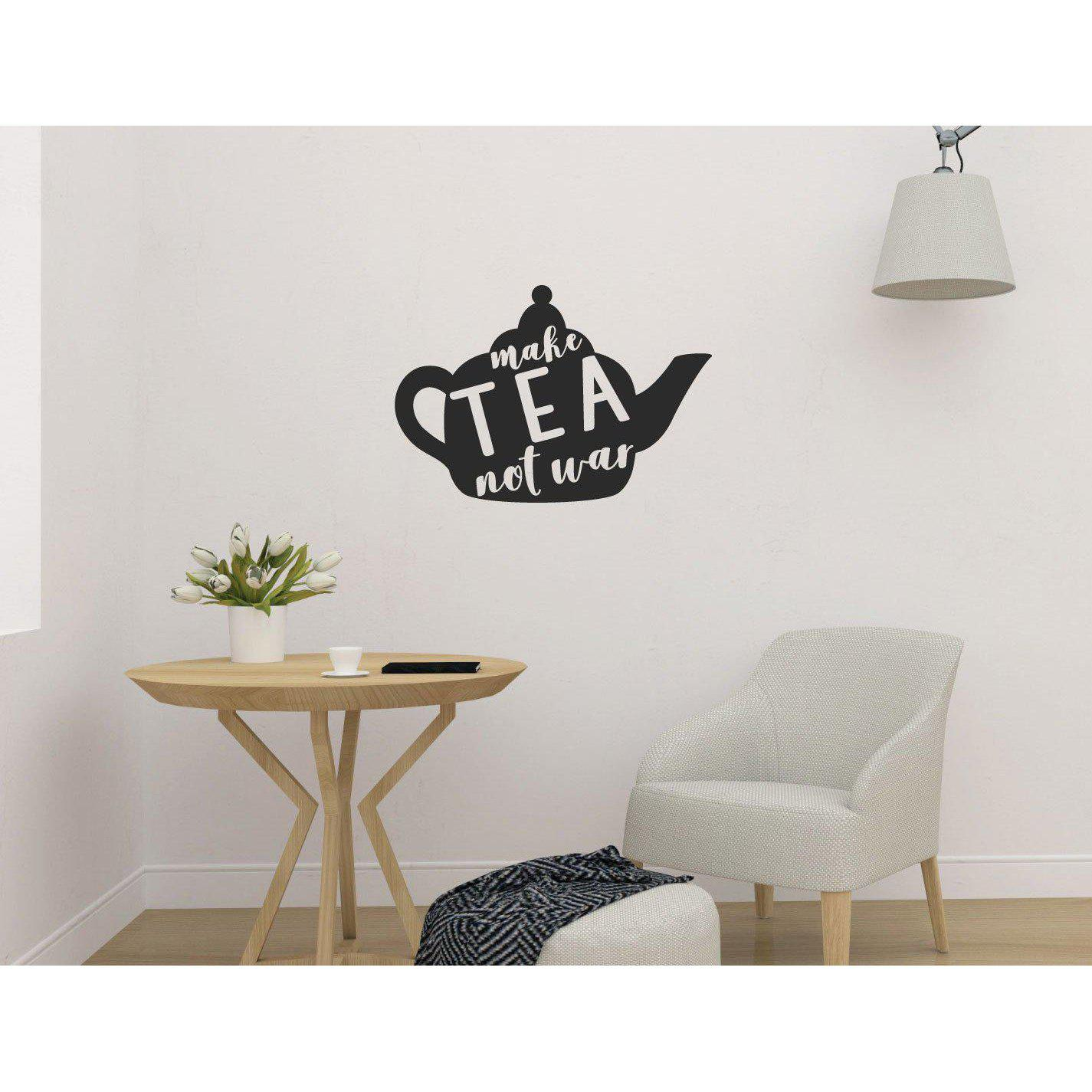 Make Tea Not War Funny Kitchen/Dining Wall Sticker Quote Wall Decal Quote Home Wall Art (36 Colours)